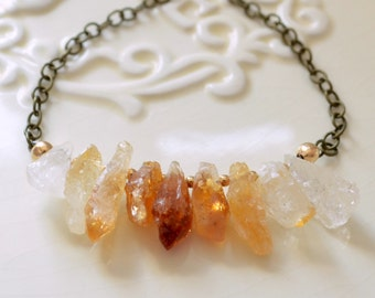 Raw Citrine Necklace, Antiqued Brass Chain, November Birthstone, Mixed Metal, Gold, Real Semiprecious Gemstone Jewelry