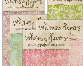 Fancy Damask Backing Display Cards - Choice of backgrounds and Fonts