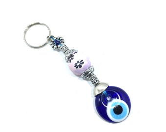 Evil Eye Keychain with Painted Flowers, Evil Eye, Evil Eye Key Chain, Hamsa Keychain,  Evil Eye Hamsa (Buy 1 Get 1 FREE & FREE SHIPPING!!!)