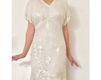 Vintage Silk Party Dress • Art Deco Sequins and Beading • Great Gatsby