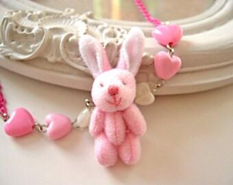 Kawaii Pink  necklace Fluffy Bunny cute rabbit