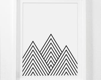 Mountain Geometric, Nursery Mountains, Digital Nursery Art, Simple Geometric Prints, Mountain Art Prints, Geometric Nursery, Mountain Decor
