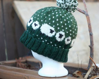 Sheep Hat in Heathered Greens Hand Knit Wool