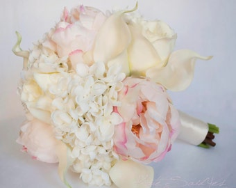 Ivory and Blush Wedding Bouquet - Peony Hydrangea Rose and Calla Lily Bridal Bouquet