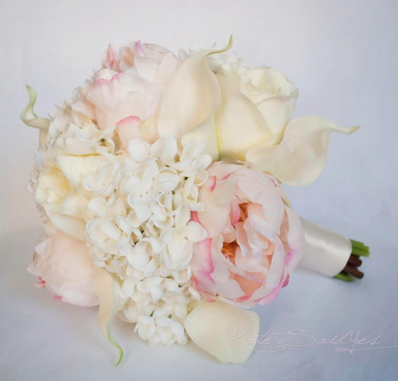 Ivory and Blush Wedding Bouquet Peony Hydrangea Rose and