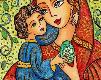 Madonna child, Virgin Mary Jesus painting, mother child, woman christian folk art, motherhood, feminine decor print 7x10+