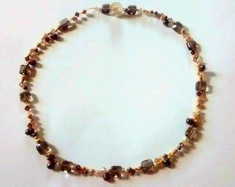 Handcrafted Faceted Smokey Quartz Necklace