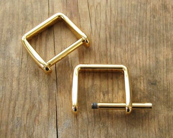 "Gold Plated D Rings 1"" Screw In Replacement Purse Strap or Knife Dangler Hardware - Set of 2"