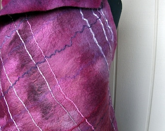Purple and Silver Wet Felted Merino Wool Vest Tunic - Thai Orchid