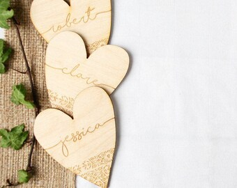 Wedding Name Place Setting - Rustic Wedding Favour - Table Decor - Wedding Inspiration - Wedding Favours - Magnet - Favors - Wedding Hearts