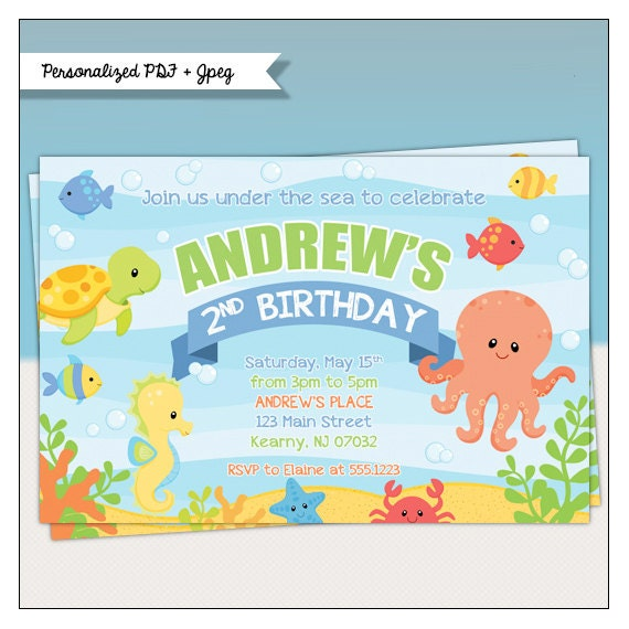 Under the sea birthday party printable invitations sea filmwisefo