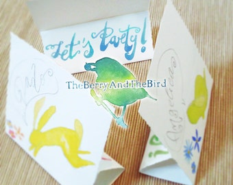 Party Place Holders Cards with Bunnies - Hand Painted Watercolor - Printable - [Instant Download] - Kids Party - DIY Pastel Place Cards