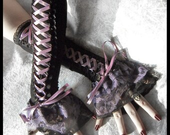 Demure Dolly Corset Laced Up Arm Warmers | Black | Silver Lavender Purple | Lace | Gothic Lolita Noir Wedding Belly Dance Dark Tribal Goth
