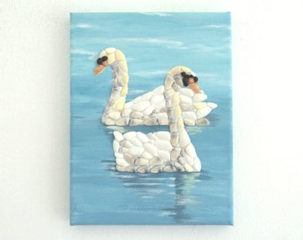 Acrylic Painting, Artwork with Seashells, Art Wall Picture of Two Swans, Swans in Seashell Mosaic, Mosaic Art, 3D Art Collage, Home Decor