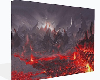 Fantasy Red  Dragon Sitting In Lair  Canvas Print  Wall Art Ready To Hang Or Poster Print