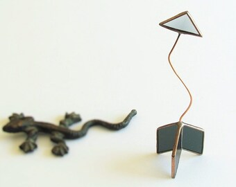 Crooked Arrow Ornament, Grey Gray Stained Glass Copper Line Geometric Suncatcher