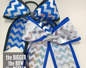 Blue and Silver Chevron Hair Bows
