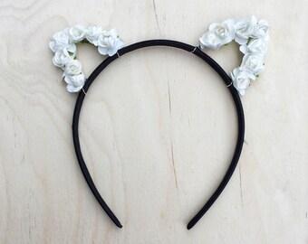 White Cat Ears Flower Headband, Rose Cat Ears, Floral Cat Ears, Valentines Day, Bachelorette