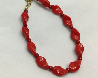 The Bracelet You'll Reach For When You Need Red, Vintage Twisted Glass, Brass Charm Dangle