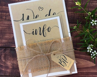 PRINTED Rustic Wedding Invitation Set (with 2 cards) – Kraft paper, Invites, RSVP, Basic Black, White, Announcements, burlap, tag & string