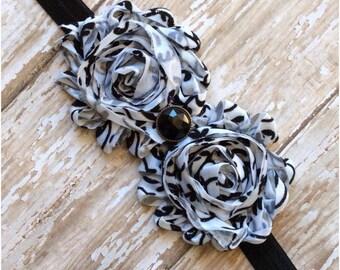 Black and White Damask Shabby Chic  Flower Headband, Baby Headband, Toddler Headband, Girls Headband, Adult Headband, Hair Bow, Flower Girl