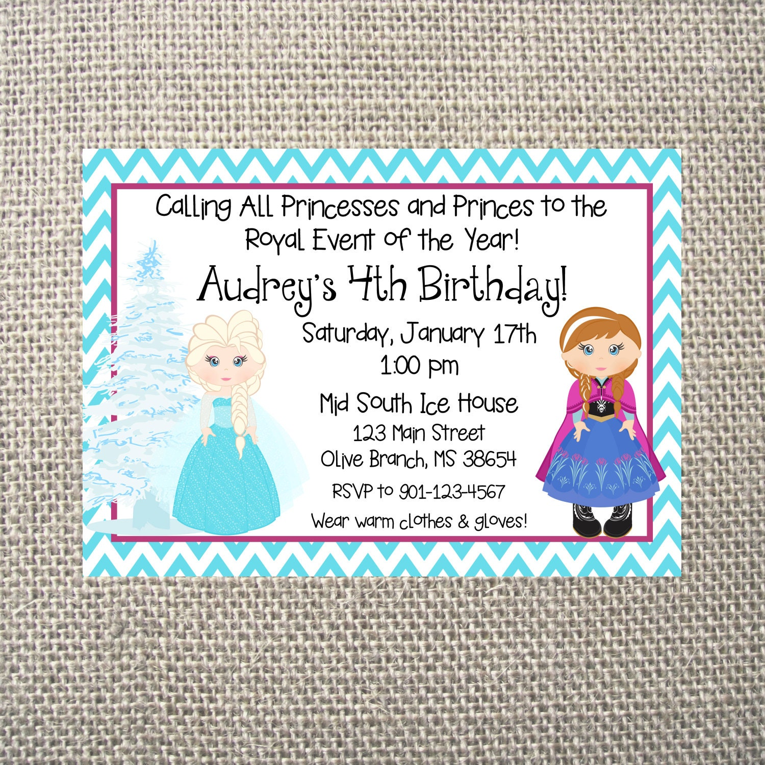 PRINTED or DIGITAL Frozen Inspired Chevron Birthday