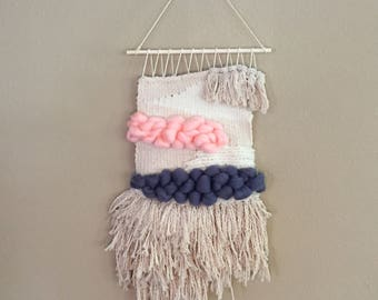 Cotton Cord and Bulky Yarn Woven Wall Hanging