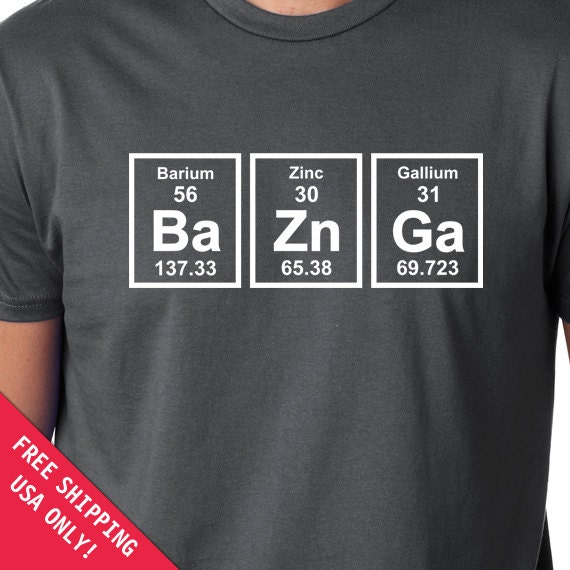 Baznga periodic table mens womens t shirt chemical elements zoom urtaz Choice Image