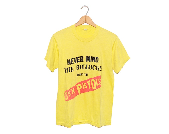 Vintage Sex Pistols Nevermind The Bollocks Bright Yellow 50/50 Poly-Cotton Blend T-shirt Made in USA - Large (OS-TS-42)