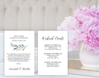 "Wedding Welcome Bag Note, Wedding Calligraphy, Welcome Bag Letter, Printable Wedding Itinerary, Agenda | 4x6"" | No. EDN 5246"