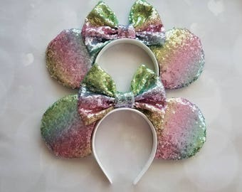 Pastel Rainbow sequin Mickey ears