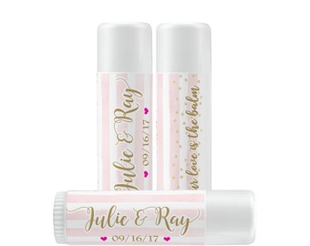 Lip Balm Labels - Personalized Lip Balm Labels - Pink and Gold Lip Balm labels - 1 Sheet of 12 Wedding Favor Lip Balm Labels