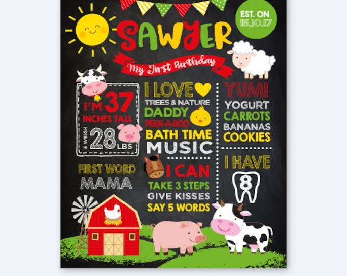 Farm Chalkboard Sign, Milestones 1st Birthday Sign, Stats Birthday Poster, Any Age, Farm Animals Personalized Printable Board, DIGITAL