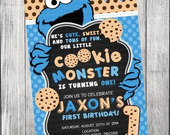 Cookie monster invitation etsy voltagebd Images
