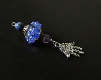 Amethyst and Lapis Lazuli Baby Dreams Hamsa/Hand of Fatima Blessingway bead - Blessing bead, baby shower gift, pregnancy pendant, doula gift