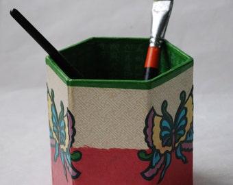 Butterfly Hanji Pen Holder Pencil Case Desktop Handmade Pink Green Beige Yellow Butterfly Design Desk Organizer Pencil Container