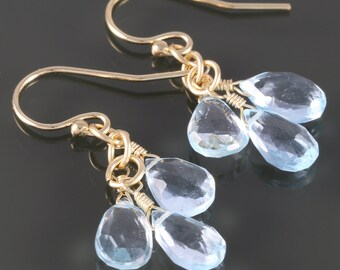 Sky Blue Topaz Three Stone Earrings - Yellow Gold Filled Ear Wires - December Birthstone - f16e133