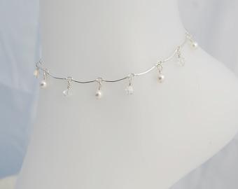 Sterling Silver Curved Bar Swarovski Pearl & Crystal Anklet