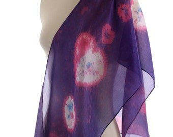 pink purple silk scarf shibori hearts pattern scarf, violet boho shawl naturally dyed romantic eco gift colourful scarf, Christmas gift