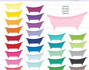 Bathtub or Clawfoot Tub Icon Digital Clipart in Rainbow Colors - Instant download PNG files