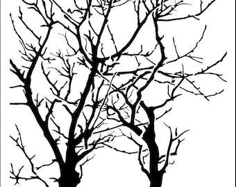 "Trees branches reversed 12 x12"" Stencil /  template design perfect for mixed media, scrapbooking, journaling and so much more"