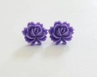 Flip Out Rose Beautiful Bloom Flower Earrings Purple