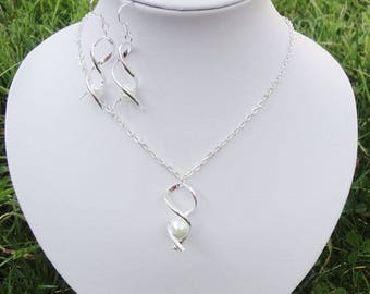 Set of jewelry for bridal, necklace + white earrings, white, Silver 925, wedding