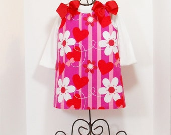 GIRLS VALENTINE DRESS Size 3 Months to 6 Boutique Jumper Spring Clothes 3mo 6mo 9mo 12mo 18mo 24mo 2T 3T 4T 5 6