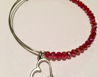 Valentine's Day Red Glass Beaded Bangle Bracelet with Heart Charm