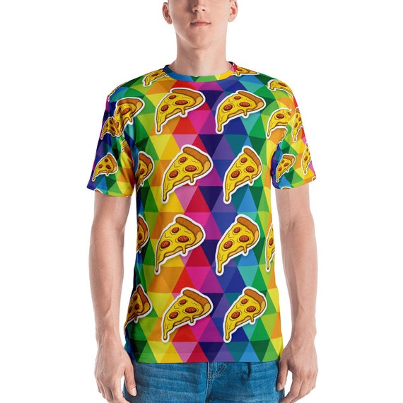 Men's T-shirt Colorful Pizza Tee Funny Hungry Shirt for Pizza Lovers