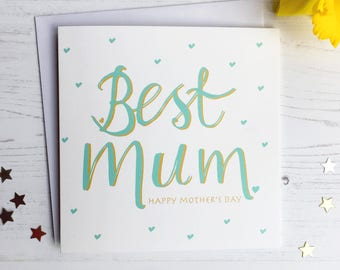 Mother' day card - hand finished Mother's day card - Best Mum card - teal green card - best mum - pink card