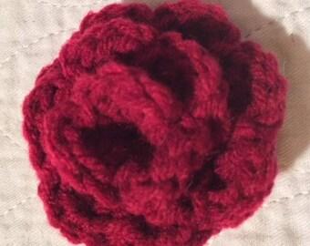 Red Rose crochet bud