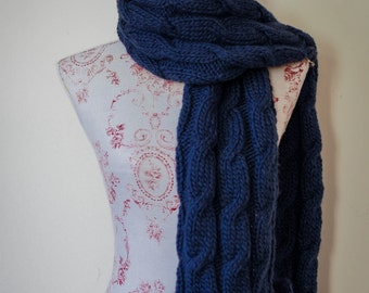 Knitted Scarf In Navy Blue