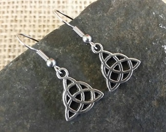 Celtic knot earrings, celtic triquetra, wicca, pagan jewellery, gift, surgical steel earrings
